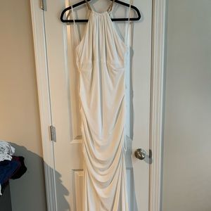 Cache size 10 white and gold prom/formal dress